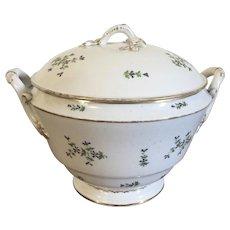 Antique 18th century French Empire Paris Porcelain Sprig Cornflower Round Soup Tureen Nast or Dihl