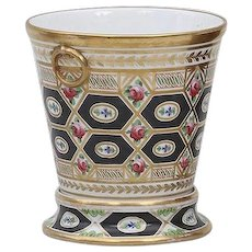 Antique Early 19th century English Coalport Porcelain Cachepot Root Pot Vase Planter in the Church Gresley Pattern 1805
