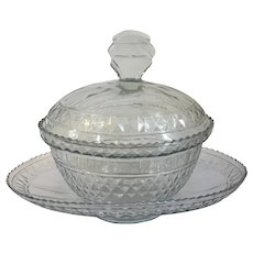 Antique 18th century George III Anglo Irish Glass Diamond Cut Crystal Sauce Tureen Cover and Under Tray Platter