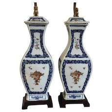 Pair Antique 18th century Chinese Export Porcelain Blue & White Vases Mounted as Lamps with Famille Rose Urns and Foo Dog Finials
