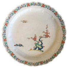 Antique 18th century Japanese Kakiemon Porcelain Plate Decorated with Flowering Plum Tree