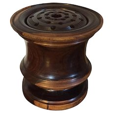 Antique 19th century English Regency Carved Treen Lignum Vitae Vase Shape Urn for Potpourri