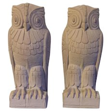 Pair Art Deco Owl Bookends from the Library of Congress