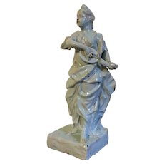 Large Antique 18th century Continental Tin Glaze Faience Pottery Figure of a Classical Robed Lady Playing the Mandolin