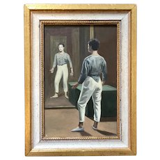 Modernist French Oil Painting Portrait of a Mime Artist or Clown Gazing in the Mirror Mid-Century