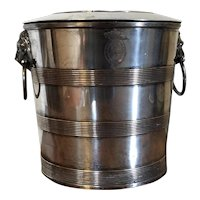 Antique 18th century English George III Old Sheffield Silver on Copper Wine Cooler or Champagne Ice Bucket with Engraved Crest & Motto for Order of the Garter