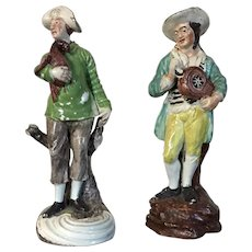 Antique Pair 18th century George III Staffordshire Pearlware Figures of a Hurdy Gurdy Player & Pheasant Hunter