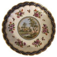 Antique 19th century Worcester Porcelain Neoclassical Landscape Plate or Low Bowl