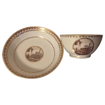 Antique Early 19th century Chinese Export Porcelain Tea Cup Bowl and Saucer Decorated with Sepia Landscape Reserves 1800 - 1810