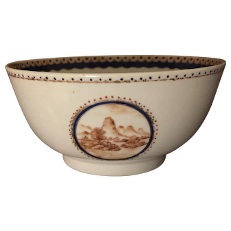 Antique Early 19th century Chinese Export Porcelain Bowl Decorated with Sepia Landscape circa 1800 - 1810