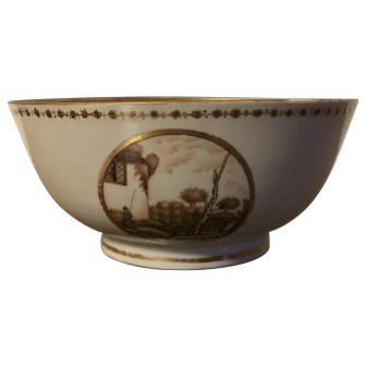 Antique Early 19th century Chinese Export Porcelain Bowl Decorated with Sepia Landscape Reserves 1800 - 1810