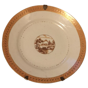 Antique Early 19th century Chinese export porcelain Plate Decorated with Sepia Mountain Landscape Reserve & Orange Border 1800 - 1810