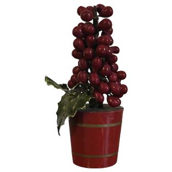 German Christmas Holly Berry Tree in Red Painted Wood Flower Pot 1930's