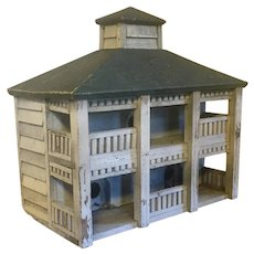 New York State Hudson Valley Classical Paint Decorated Architectural Model Bird House 1930's