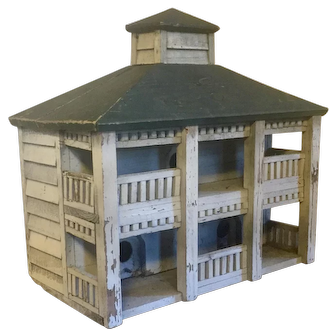 New York State Hudson Valley Classical Paint Decorated Architectural Model Bird House 1930's Folk Art