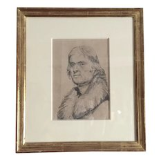 19th century Pencil Drawing of President Thomas Jefferson in Gilt Wood Frame