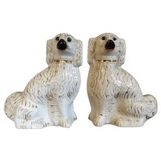 Large Pair Antique 19th century English Staffordshire Figures of Spaniel Dogs with Glass Eyes