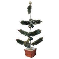 Vintage 1930's Pre-War Japan Feather Brush Christmas Tree with Glass Ornament Balls & Wood Stand