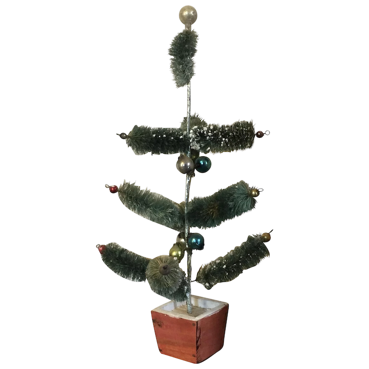 Japanese Christmas Tree Ornaments.Vintage 1930 S Pre War Japan Feather Brush Christmas Tree With Glass Ornament Balls Wood Stand