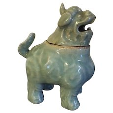 Antique Chinese Ming Celadon Porcelain Mythical Beast, Kylin Tiger, Foo Lion or Dog Form Incense Burner Censer