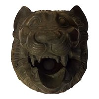 Large Antique 19th century Grand Tour French Empire Bronze Lion Mask Door Mount or Fountain Head