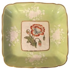 Antique Early 19th century English Regency Coalport Porcelain Botanical Square Dessert Dish or Serving Platter Eastern Poppy