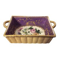 Small Antique Early 19th century English Regency Coalport Porcelain Square Basket Decorated with Floral Sprig