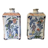 Pair Antique 18th century Dutch Delft Tin Glaze Faience Polychrome Tea Caddies in the Chinese Kangxi Taste with Silver Lids Caddy