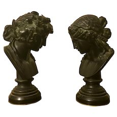 Pair Antique 19th century Grand Tour Bronze Classical Library Busts in the Greek or Roman Tradition on Black Marble Socles