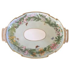 Large Antique 19th century Limoges Paris Porcelain Handled Tray Platter with Butterflies & Flowers