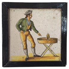 Framed Antique 18th century French Polychrome Tin Glaze Faience Delft Tile Market Seller