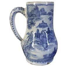 Antique 18th century English Delft Tin Glaze Faience Earthenware Tankard Mug in the Chinese Taste