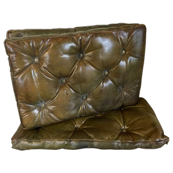 Set 3 Antique Edwardian Button Tufted Leather Chesterfield Rectangular Cushion Pillow for a Bench, Chair or Stool in Mellow Brown Green