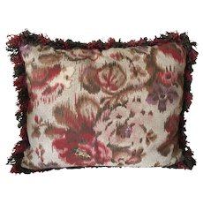 Hand Made Ikat Rectangular Pillow with Coordinating Fringe Trim