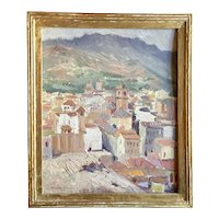 Wells Moses Sawyer Spanish Costa del Sol Mediterranean Port Town Landscape Oil Painting on Board Malaga, Spain View from the Harbor to the Alcazaba Signed 1928