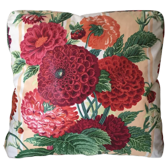 Vintage Waxed Chintz Floral Botanical Pillow with Dahlias
