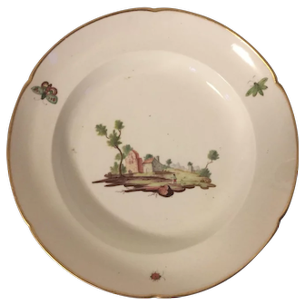 Antique 18th century Italian Naples Porcelain Soup Bowl Plate in the Meissen Style Decorated with Insects Butterflies and Landscape Scene