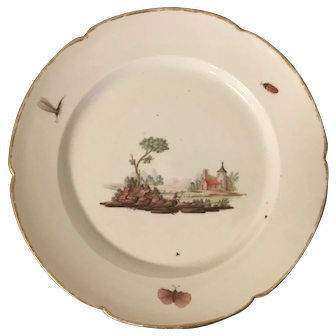 Antique 18th century Italian Naples Porcelain Dinner Plate in the Meissen Style Decorated with Insects Butterflies and Landscape Scene