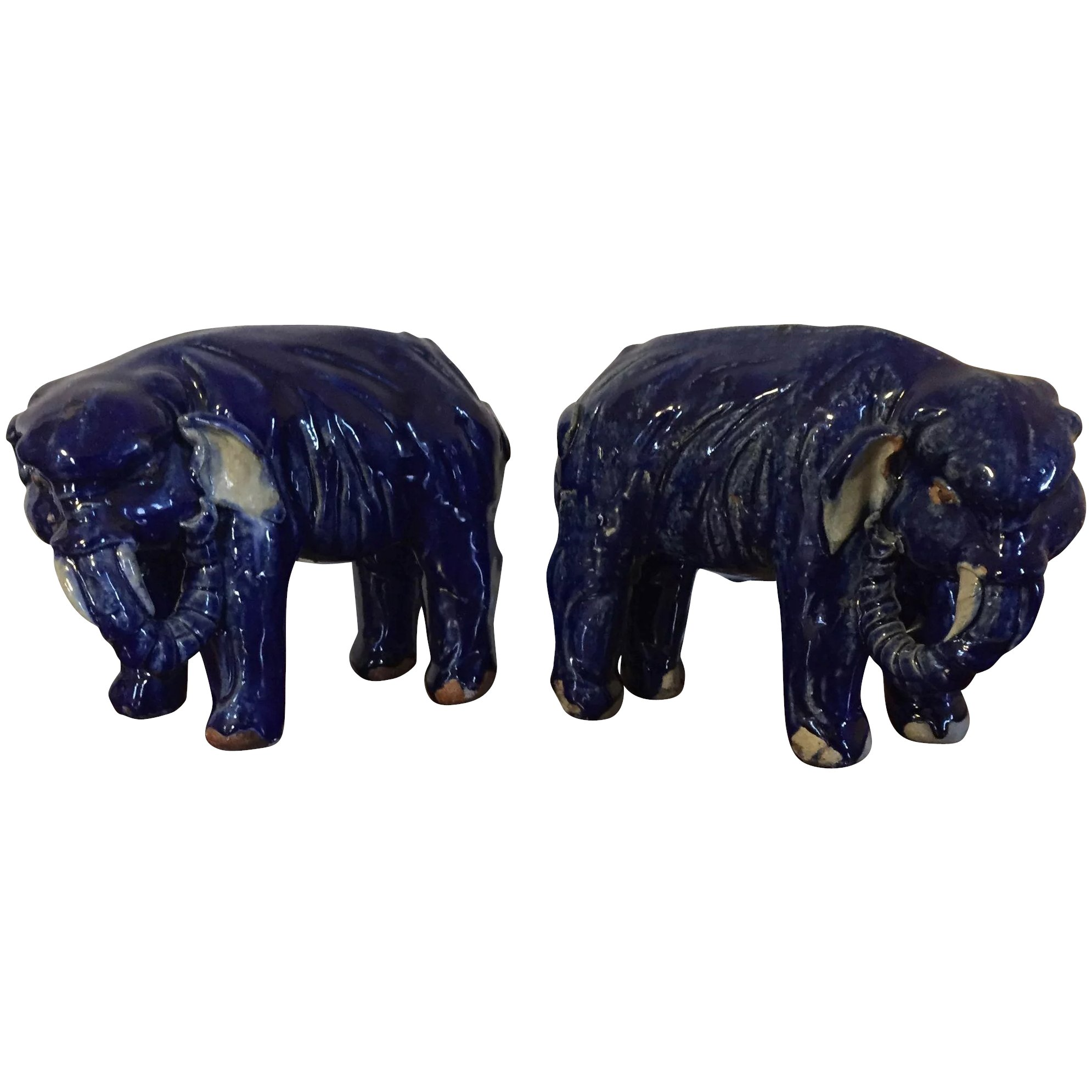 Pair Antique Chinese Porcelain Elephant Figures in Cobalt Blue Glaze Early  20th century Qing