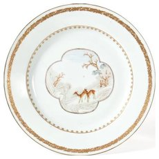 Antique 18th century Chinese Export Porcelain Plate Decorated with Deer in a Landscape
