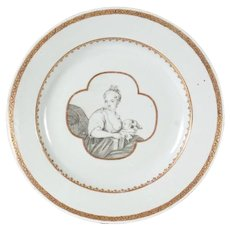 Antique 18th century Chinese Export Porcelain Plate Decorated en Grisaille with Mother & Child