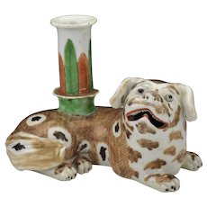Antique 18th century Chinese Export Porcelain Famille Rose Joss Stick or Candlestick in the Form of a Spaniel Dog Candle Holder