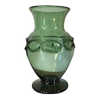 Art Deco Free Blown Green Glass Baluster Shape Flower Vase with Applied Chain Decoration 1920 - 1930