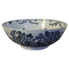 Large Antique 18th century Delft Tin Glaze Faience Blue & White Pottery Punch or Fruit Centerpiece Bowl in the Chinese Taste