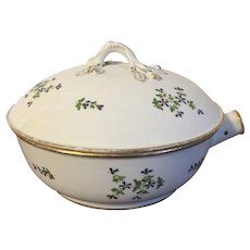 Antique 18th century French Empire Paris Porcelain Sprig Cornflower Round Serving Bowl & Cover Tureen Locre Mark