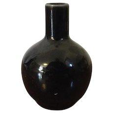 Small Antique 19th century Chinese Monochrome Mirror Black Bottle Shape Vase or Snuff Bottle with Blue Kangxi Artemisia Leaf Mark