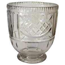 Antique George III Early 19th century Anglo Irish Glass Cut Crystal Vase Shape Mixing Bowl for a Tea Caddy