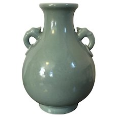 Antique 18th / 19th century Chinese Monochrome Celadon Vase with Elephant Ring Handles and Kangxi Marks, Provenance - Dauntesey Family, Agecroft Hall