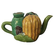 Antique 19th century Chinese Porcelain Tea Pot in Famille Vert Glaze with Molded Vegetable / Fruit Body and Bats