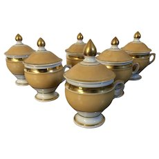 Set 6 Antique 19th century French Empire Old Paris Porcelain Pot de Creme Cups with Apricot Peach Glaze Enhanced by Rich Gilding
